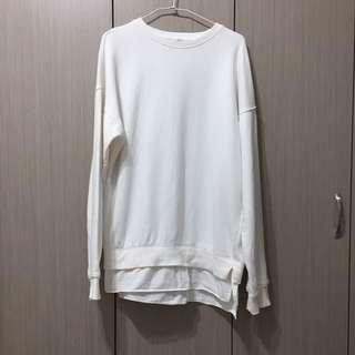 🚚 九成新 韓國韓版學院風學生感白色厚實棉質假兩件拼接長版寬鬆大學T上衣