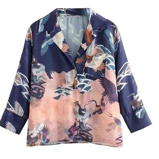 Orient printed button down soft blouse