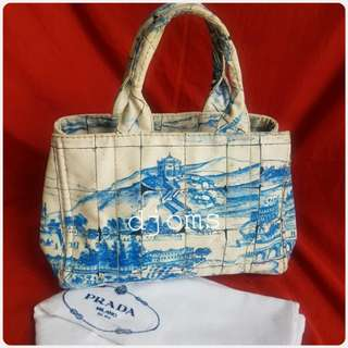 PRADA CANAPA AZULEJOS PAINTED TOTE BAG
