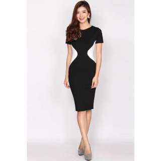 Kate Contrast Waist Pencil Dress In Black