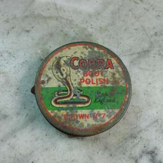 England Cobra Boot Polish Round Tin Vintage