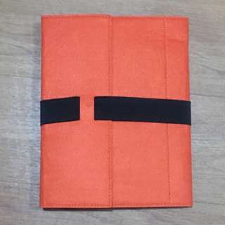 Red Holiday Travel Zip Make up Pouch / A4 Orange Felt Material Folder File.