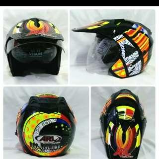 Helmet ARL semi cross double visor rossi 46