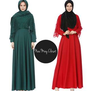Cape Lace Long Jubah Maxi Dress