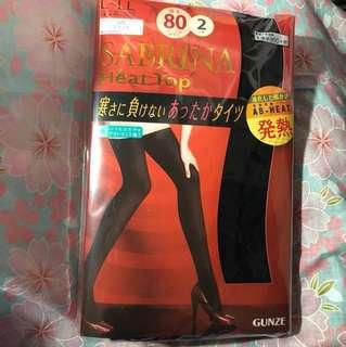 日本Gunze 發熱襪褲 80厚2對裝