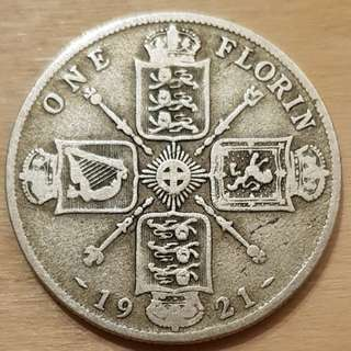 1921 Great Britain King George V Florin Silver Coin