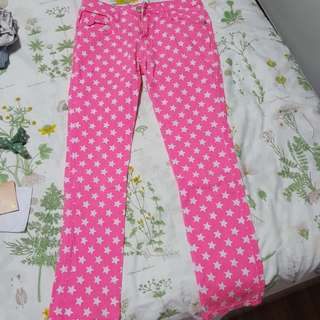 Neon Pink Star Patterned Jeans