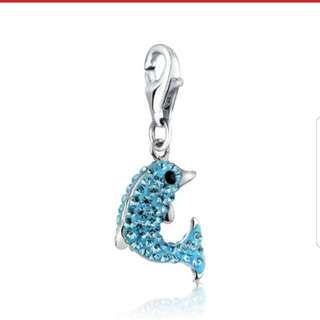 Dolphin charm - Swarovski Aqua Blue