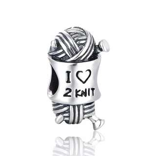 Code S101, I Love To Knit 100% 925 Sterling Silver Charm compatible with Pandora