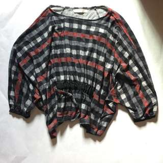 INSTOCK Bysi Batwing Checkered blouse