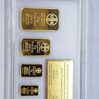 999.9 UBS colour gold bar