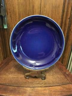 舊藍釉23.5cm碟「大清乾隆年製」
