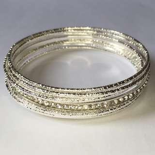 *Ready Stock* Shiny Silver Bangle with Crystals