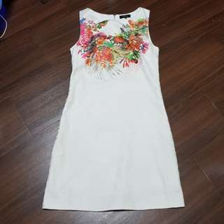 Formal white dress with floral print
