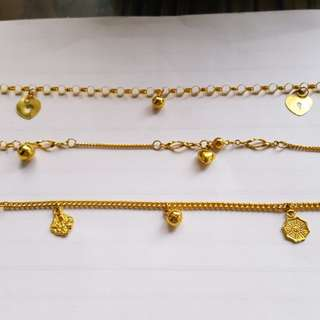 916 baby anklets/adult bracelets@ current gold price