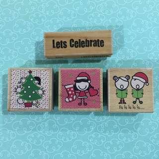 Wooden Block Rubber Stamps Set (4pcs)