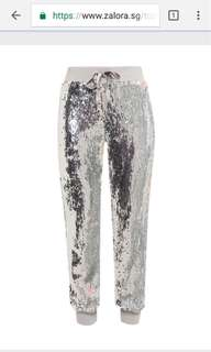 BNWT TOPSHOP sequin white silver pants