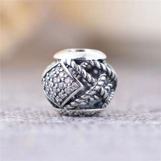 Code MS60 - Hollow Rope With Diamond Shape Openwork Bead 100% 925 Sterling Silver Charm, Chain Is Not Included, Compatible With Pandora