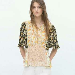 ZARA Floral Lace up Top