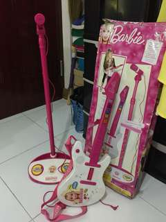 Barbie guitar and microphone (battery operated )