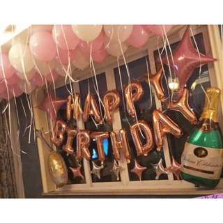 Wine champagne bottle glass birthday party celebration decorations