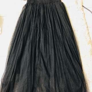 黑色網紗長裙