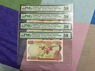 Fundraising Sale - Singapore Orchid Series $10 Paper Banknote Hon Sui Sen Signature with Red Seal 4 Runs Last Number Shifted Upwards PMG 58 AUNC