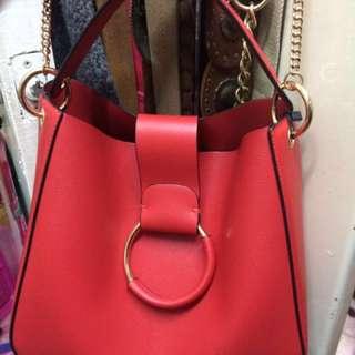 Zara medium bucket red colour shoulder bag