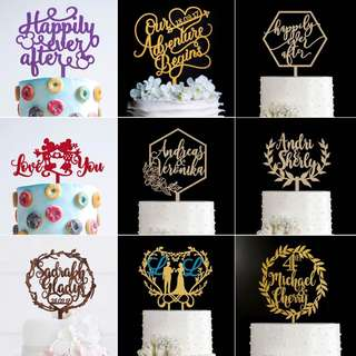 Happy Wedding Celebration Personalized Cake Topper