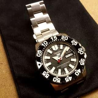 Seiko 5 Black Neo Monster 100M Diver Watch