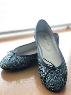 French Sole sparkling silver flats