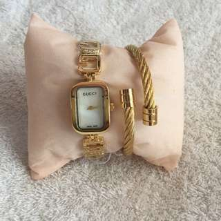 Gucci Watch with Charriol Bangle ⌚