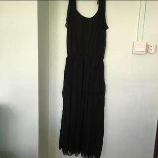 👗Women's/ Ladies' Sleeveless Black Long Chiffon/ Maxi Dress (Free Size)👗