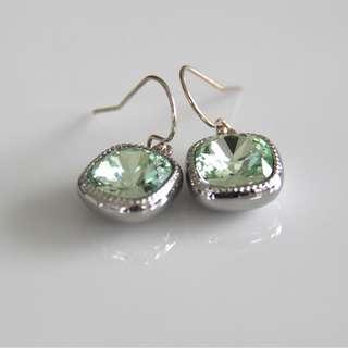 Swarovksi Crystal Cushion Cut Earrings, Light Green Earrings, Dangle Earrings