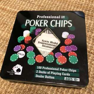 Poker Chips Set with 2 Decks of Playing Cards