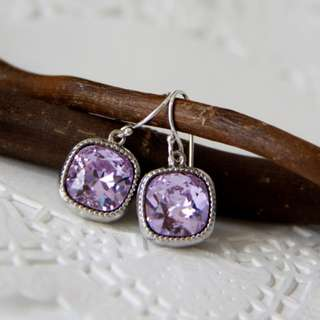 Swarovski Crystal Earrings, Purple Lavender Earrings, Dangle Earrings, Sterling Silver