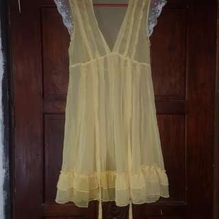 See through yellow dress