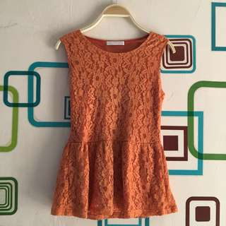 Blouse Magnolia Peplum Orange - FIXED PRICE