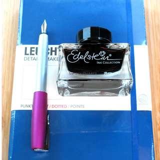 Pelikan Ink Aventurine, Leuchtturm1917, Faber-Castell Loom (Purple)