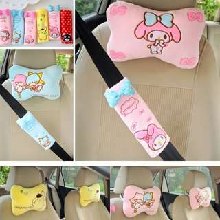 [PO] Sanrio Car Neck Pillow	& Sit Belt Cushion