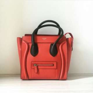 CELINE MICRO LUGGAGE IN GRAINED LEATHER RED