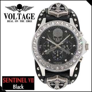 「日本代購」日本潮人必入 VOLTAGE 十字盾牌骷髏真皮手錶 男女通用
