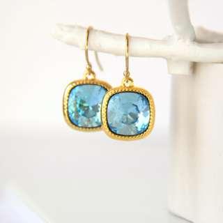Aquamarine Swarovski Crystal Earrings, Blue Earrings, Aquamarine Earrings, Gold Earrings