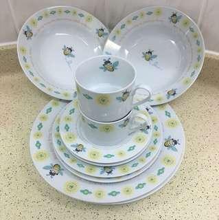 可愛蜜蜂圖案杯碟湯盤餐具,雙人套裝,一套共10件