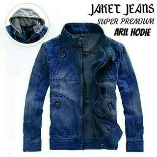 Jaket jeans aril hoodie