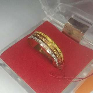Real 916 Gold Ring With 3 Color - Yellow Gold White Gold And Rose Gold