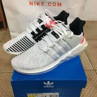 全新 Adidas EQT Support 93/17 US9 白粉 連Tag
