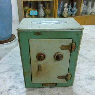 Metal Safe Saving Box Vintage