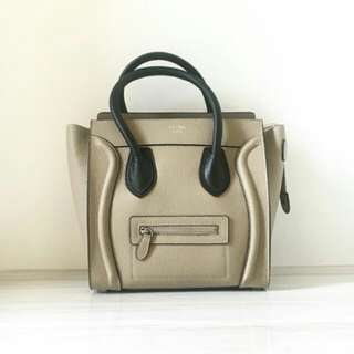 CELINE MICRO LUGGAGE IN GRAINED LEATHER BEIGE
