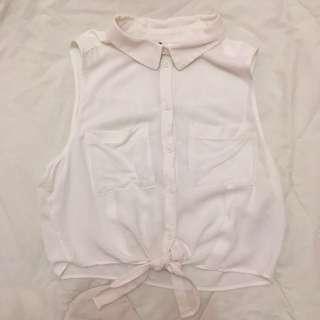♡ H&M WHITE TIE TOP ♡